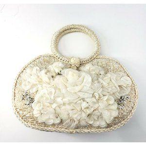 Vintage Womens Classic Cream Floral Woven Handbag